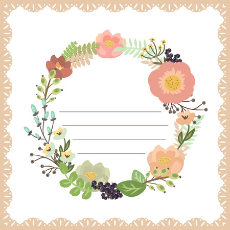 Cute card with flower bouquet. Frame with lace. Vector illustration Vector