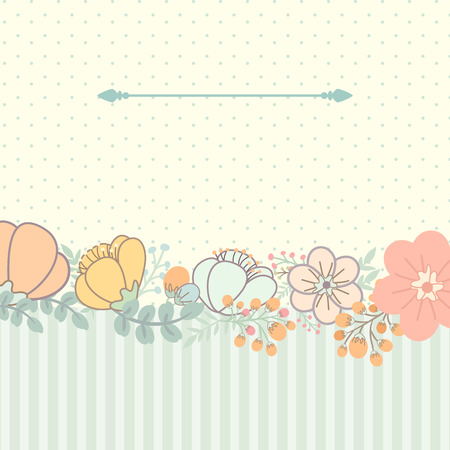 Cute card with flower bouquet. Polka dots and stripes background. Vector illustration Vector