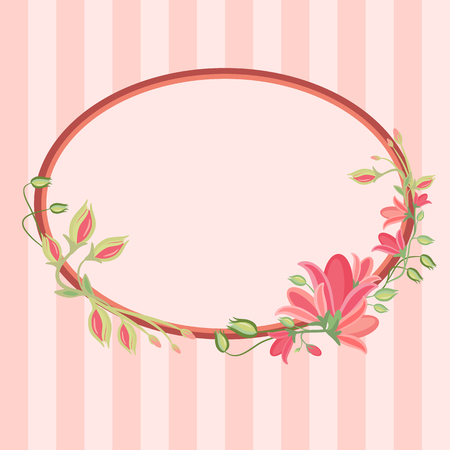 Beautiful greeting card with floral wreath. Striped background. Bright illustration, can be used as creating card, invitation card for wedding,birthday and other holiday and cute summer background.