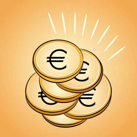 bank branch: Isolated pile of golden coins euro. Vector image.