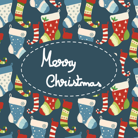 Christmas greeting  card with socks. Vector