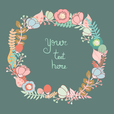 Beautiful greeting card with floral wreath.