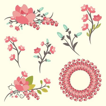 bordes decorativos: Conjunto de elegancia ramos de flores Vectores