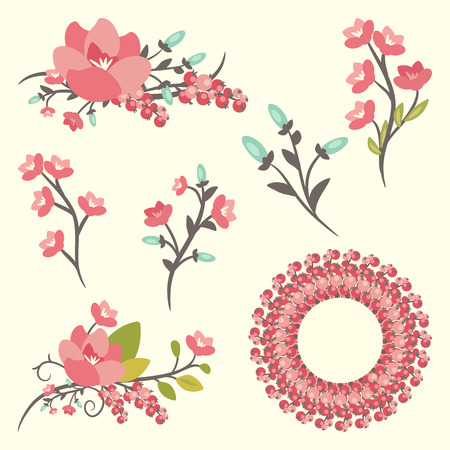 doodle art clipart: Set of elegance floral bouquets