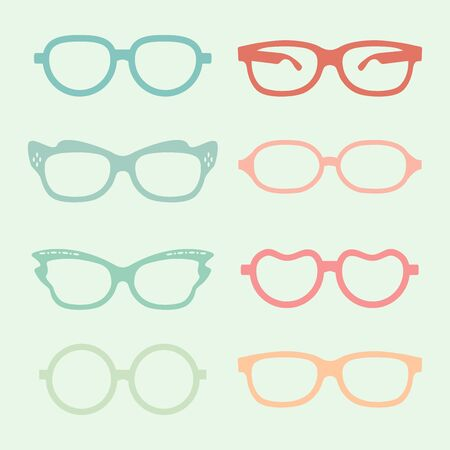 Set of glasses set with colored thick support.