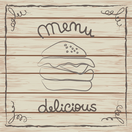 Delicious hamburger menu card on a wooden texture.