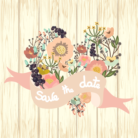 Save the date floral card on wooden background. Cute retro flowers arranged un a shape of the heart perfect for wedding invitations and birthday cards. Vector illustration
