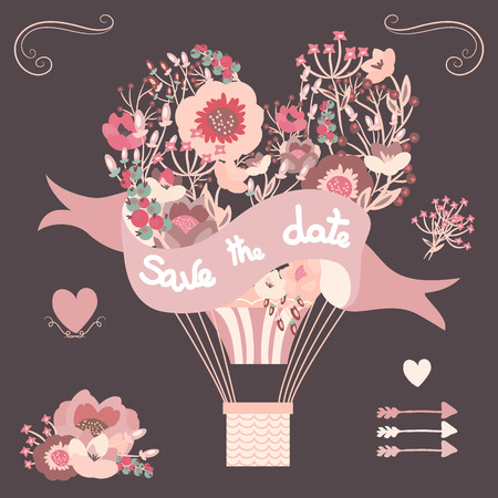 Vintage floral hot air balloon. Wedding graphic set with flowers elements, arrows and hearts