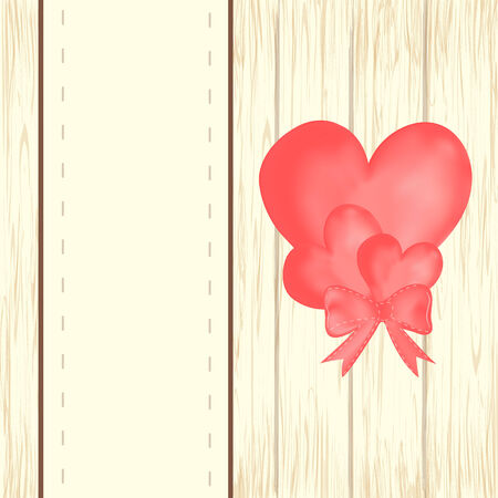 Valentines day background with heart balloons with ribbon on wooden background. Vector illustration