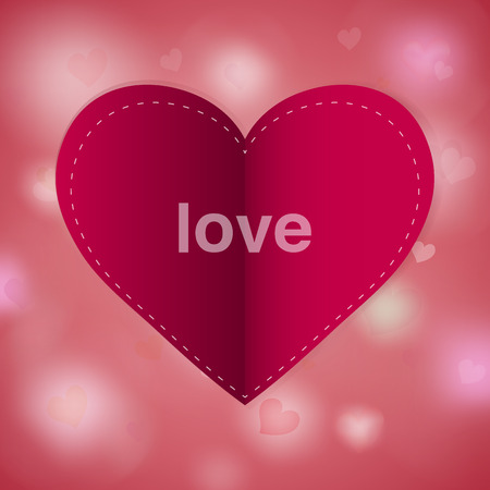 Red paper heart Valentines day card with sign on abstract glow soft hearts. Vector background design.
