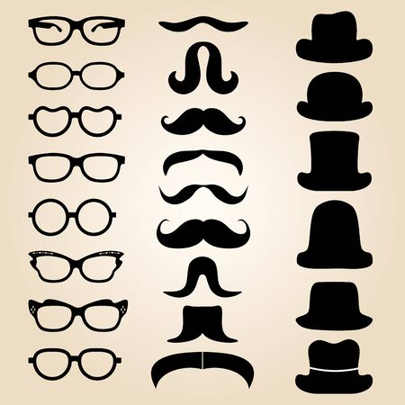 hipster mustache: Retro gentlemans set consists of a hat, glasses and mustache