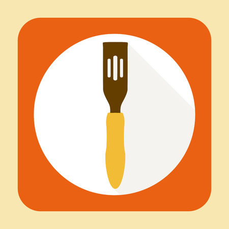 Kitchen ware spatula. Vector flat icon with long shadow Illustration