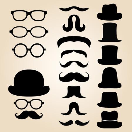 Set retro gentleman's bestaat uit een hoed, bril en snor