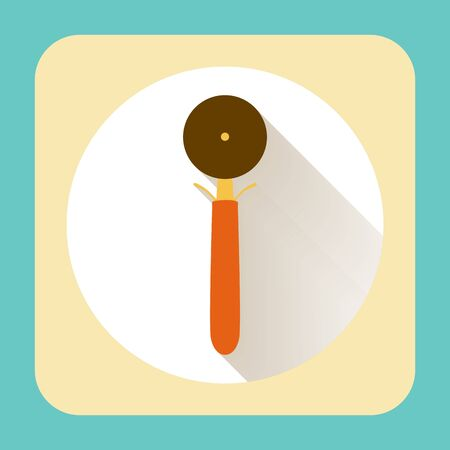 kitchen ware: Kitchen ware pizza slicer wheel tool. Vector flat icon with long shadow