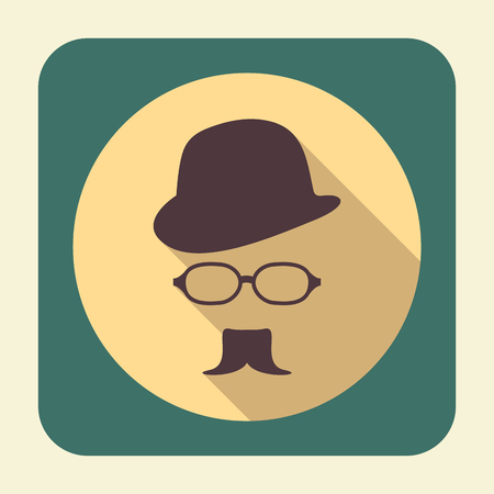 design objects: Flat icon with long shadow effect in stylish colors of web design objects, business, office and marketing items. Gentleman icon.