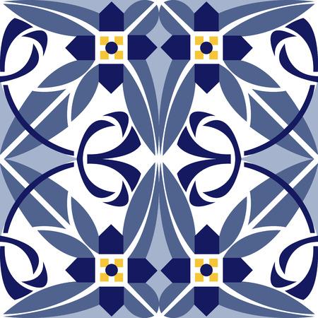 Seamless vintage background - Victorian tile in vector Çizim