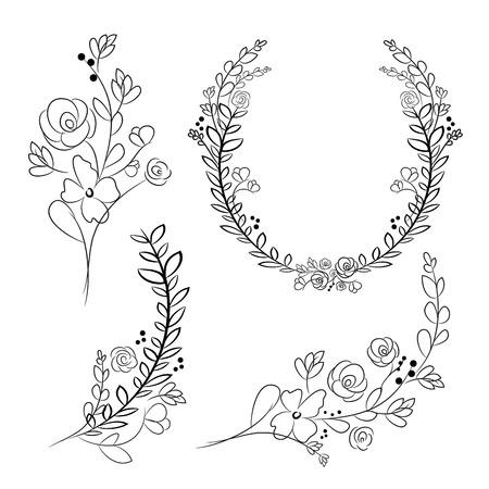 Vector wreaths and laurel wreaths. Round flower vector frames. Hand drawn design elements set. Vettoriali