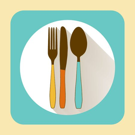 ware: Kitchen ware tableware. Vector flat icon with long shadow Illustration