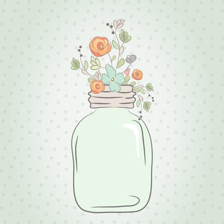 Leuk boeket bloemen bruiloft in een glazen pot. Vector illustratie Vector Illustratie