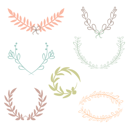 Vector collection of laurels, floral elements and banners Illustration