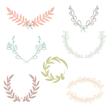Vector collectie van lauweren, bloemen elementen en banners Stock Illustratie
