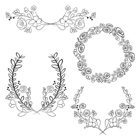 colorful frame: Vector wreaths and laurel wreaths. Round flower vector frames. Hand drawn design elements set. Illustration