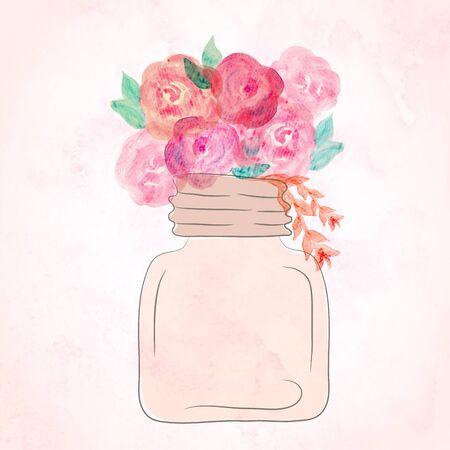 natura morta con fiori: Acquerello arte dipinta di bel fiore in vaso. Acquerello nature morte di fiori in vaso.