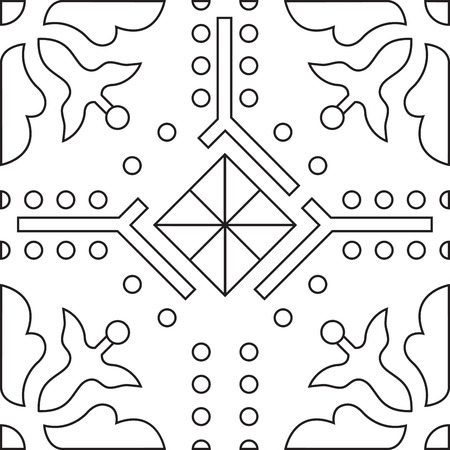line artwork: Unique coloring book square page for adults - seamless pattern tile design, joy to older children and adult colorists, who like line art and creation, vector illustration Illustration