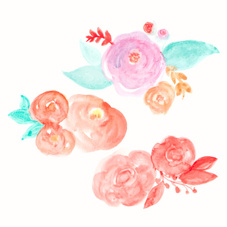 orange flower: Watercolor Flower Vector. Round Watercolor Flowers. Abstract Flowers Illustration