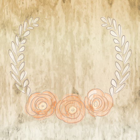 flower bouquet: Cute card with laurel flower bouquet on wood background