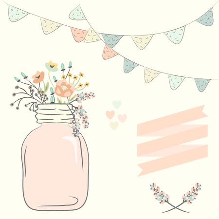 mason: Cute bouquet of wedding flowers in a glass jar. Vector illustration