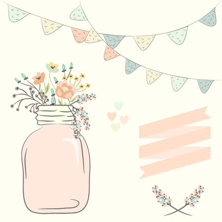 Cute bouquet of wedding flowers in a glass jar. Vector illustration