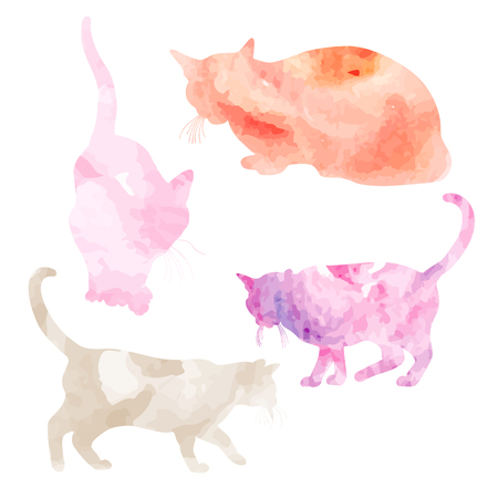 Vector illustration of hand painted watercolor cats. Watercolor set of cats for your design