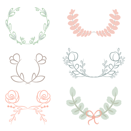 wedding  art: Vector collection of laurels, floral elements and banners Illustration