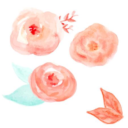 Aquarel bloem Vector. Ronde Bloemen van de waterverf. Abstracte Bloemen Stock Illustratie