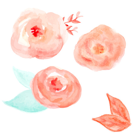Watercolor Flower Vector. Round Watercolor Flowers. Abstract Flowers Illustration
