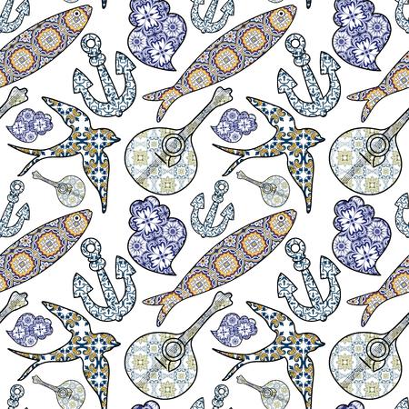 원활한 패턴으로 전통적인 포르투갈어 아이콘의 컬렉션입니다. 유색 인종 정어리, 앵커, 삼키기, 포르투갈어 기타와 전형적인 포르투갈어 타일 패턴과