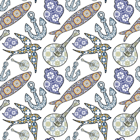 Collection of traditional Portuguese icons in seamless pattern. Colored ornamental sardines, anchor, swallow, portuguese guitar and Vianas heart with typical Portuguese tiles patterns. Vector illustration