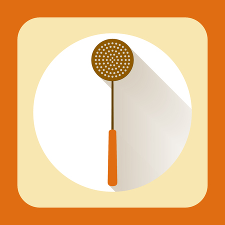 kitchen ware: Kitchen ware skimmer. Vector flat icon with long shadow Stock Photo