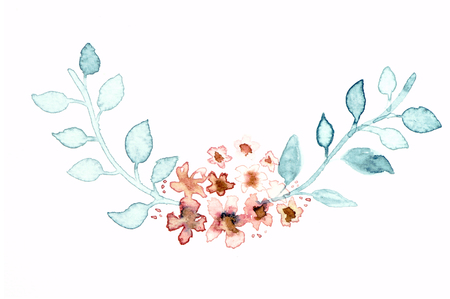 indie: Watercolor floral indie wreath frame. Watercolor floral composition It will be great for a lovely invitation, greeting card, or elegant wedding. Real watercolor painting.