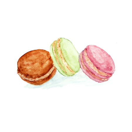 Watercolor sweet dessert fruit berry macaroon set isolated