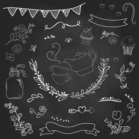 Stylish romantic elements for party. Chalkboard background. Ideal for set designs of celebration 矢量图像