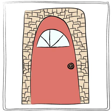 old door: Old door icon, isolated illustration vector.  Illustration