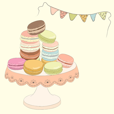 macaroon: Set of colorful doodle macaroon on plate. Sketch macaroon. Macaroons handmade. Objects for design. French dessert. Cute macaroon with doodles. Vector illustration. Illustration