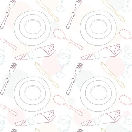 seamless pattern: Tableware seamless pattern.