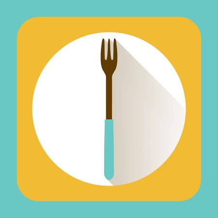 kitchen ware: Kitchen ware fork. Vector flat icon with long shadow Illustration