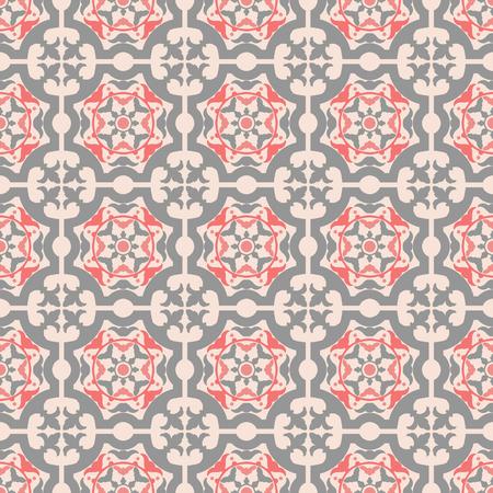 Portugese tegels naadloos patroon. Vintage achtergrond - Victoriaanse keramische tegel Stock Illustratie