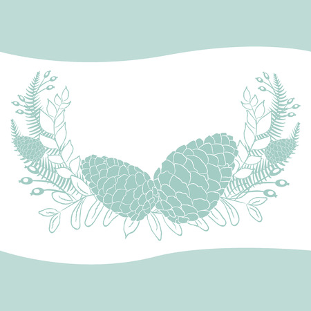 larch: Pine cones set. Frame wreath. Larch branches with cones. Invitation card. Wedding invitation. Greeting card. Pine decorative elements for your design.  Illustration