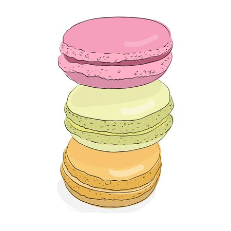 macaroon: Set of isolated colorful doodle macaroon. Sketch macaroon. Macaroons handmade. Objects for design. French dessert. Cute macaroon with doodles.