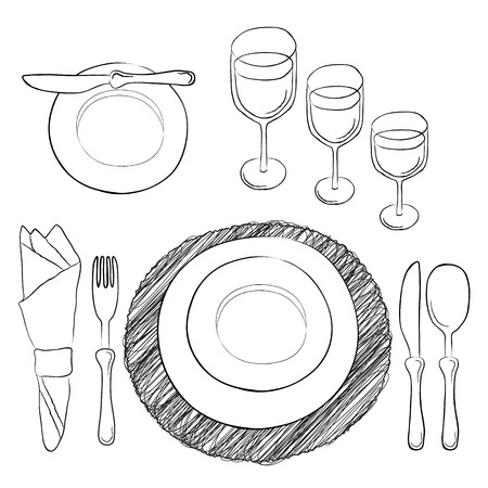 formal place setting: Vector table setting. White and clear tableware and eating utensils are set at the table for serving.